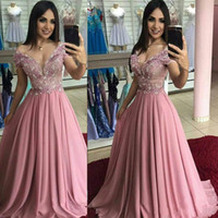 Wholesale lavender lilac pageant gowns resale online - 2020 New Dusty Rose Pearls Prom Formal Dresses Evening Gowns Off shoulders Applique Lace Beaded Chiffon Pageant Party Dress Cheap