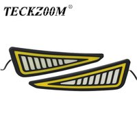 Wholesale cob led amber for sale - Group buy TECKZOOM New Car Accessories Cob LED Drl Daytime Running Light Triangle Cob LED Switchback DRL White Amber Turn Signal Strip