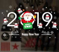 etiquetas da janela do feliz natal venda por atacado-Da parede da árvore de Natal Decoração de Natal 10PCS Sticker porta janela Detalhes no Papai Noel Boneco cervos Etiqueta Ano Novo Feliz Natal