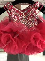 rote ritzee festzug kleider großhandel-Cupcake Little Girl Pageant Kleid 2019 V-Ausschnitt Glitz Ritzee Roise Dark Red Infant Kleinkind Kids Prom formale Party Kleider Short Zip Back