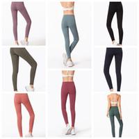 Wholesale yoga pants tights online - Women Skinny Leggings Colors Sports Gym Yoga Pants High Waist Workout Tight Ninth Yoga Leggings LJJO6333