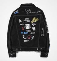 vestes personnalisées pour hommes achat en gros de-Livraison gratuite en gros de haute qualité Styliste Marque col Turn-down hommes graffiti personnalisé imprimé veste en jean frangé
