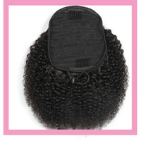 Brazilian Virgin Hair 100g lot Ponytails Afro Kinky Curly 8-22inch Natural Color 100% Human Hair Afro Kinky Curly Ponytail