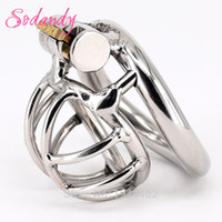 Sodandy 2018 Super Small Male Chastity Device Stainless Steel Mens Cock Cage Metal Penis Restraint Locking Cockring Bdsm Bondage Y19052703