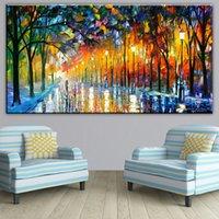 yağlıboya renk ağacı toptan satış-Baskılı tuval DP ARTISAN sanatçı renk ağacı ışık sanat Duvar boyama ev dekor için tuval üzerine baskı yağlıboya sanat Yok