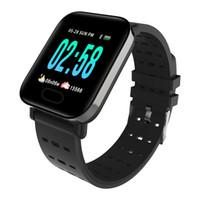 rastreador de pulsera fitbit al por mayor-A6 Fitbit Deportes Banda inteligente Presión arterial Pulsera inteligente Monitor de ritmo cardíaco Rastreador de calorías IP67 Pulsera impermeable