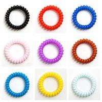 cordons de filles achat en gros de-26 couleurs téléphone fil cordon gomme cheveux cravate 6.5 cm filles élastique bande de cheveux anneau corde bonbons couleur Bracelet Accessoires cheveux T2C5049