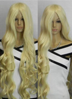 Wholesale long curly hair bangs resale online - WIG Details about CM Super long light blonde wavy no bangs cosplay synthetic hair full wig