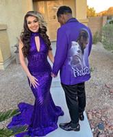 vestidos de fiesta de lentejuelas púrpura al por mayor-2020 Purple Plus Size Mermaid African Prom Dresses Con lentejuelas Lace Sweep Train Cuello alto Negro Girls Evening Gala Gown robe de soiree