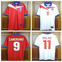 chile jerseys venda por atacado-Copa do Mundo 98 Chile Zamorano Retro Futebol Jersey longe de casa 1998 Chile Salas vintage Camisas de Futebol
