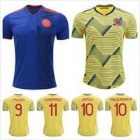 nueva camisa de té al por mayor-2020 2019 NUEVA camiseta de la Copa América Colombia 2018 camisetas de fútbol de casa de Colombia 19 20 de distancia Camiseta de fútbol FALCAO JAMES CUADRADO TEO BACCA