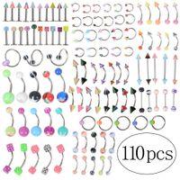 mücevher pircing toptan satış-110pcs / lot Moda Piercing Seti Kaş Bar Dudak Burun Pircing Kulak Studs Paslanmaz Çelik Karışık Vücut Takı