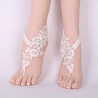 Wholesale lace anklets women resale online - CHICVIE Bridal Summer Crochet Barefoot Sandals Lace Anklets Wedding Prom Party Ankle Length Women Bare Feet Sandals SAN190061