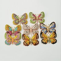 Wholesale butterfly crystal brooch resale online - 2019 Alloy Crystal Animal Shape Butterfly Brooches Women s Metal Rhinestone Insects Banquet Wedding Brooch Chic Gifts
