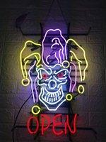 işıklar neon tabelası açık toptan satış-Yeni Yıldız Neon Burcu Fabrika 19X15 Inç Gerçek Cam Bira Bar Pub için Neon Burcu Işık Garaj Odası AÇIK Palyaço.