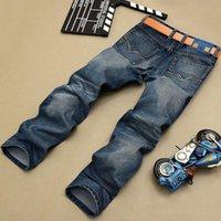 Wholesale jeans for mens wholesale online - Fashion Biker Jeans Button Fly Pants Brand Designer Mens Jeans High Quality Blue Black Color Straight Ripped For Men