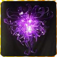 araña morada para el comedor al por mayor-Lujo Purple Crystal Chandelier Free Air Shipping Dormitorio Comedor Cocina Totalmente soplado mano Luz de moda de cristal