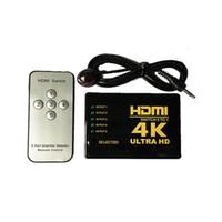 3d hdmi genişletici toptan satış-HDMI Splitter Anahtarı Kutusu Ultra HD 5 Port 4 K 3D 1080 P IR Uzaktan Kumanda Seçici 5 1 Genişletici HDTV 1080 P Vedeo Için