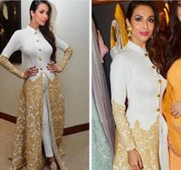 Wholesale high neck arab dresses resale online - Saudi Evening Gowns Long Sleeves High Neck Caftan With Pants Gold Lace Appliques jumpsuit Malaika Arora Khan Arab Formal Prom Party Gowns