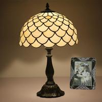 rustikale lampen großhandel-Antike nordische Art Deco Tischlampe rustikale Glasmalerei Vintage Nachttisch Schreibtisch Licht Büro Cafe Bar Tischlampe Licht für Wohnzimmer Schlafzimmer