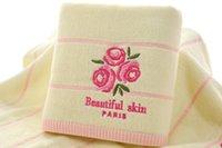ingrosso asciugamano verde-34 * 74 cm rosa tè verde lavanda fiore jacquard soft face asciugamano capelli di cotone mano asciugamani bagno toallas de mano regalo 1 pz