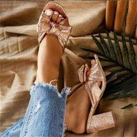 sandálias de dedo do pé aberto venda por atacado-Mulheres Chinelo Plus Size ouro Bling Bow Ladies Verão Slides Grosso calcanhar aberto Toe vestido de festa Flip Flop sandálias fêmeas Shoes