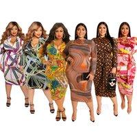 frauen sexy hüften großhandel-2019 Frauen plus-size Kleid gedruckt lange Ärmel Kleid engen Rock Packet Hüfte Puller Design sexy Art und Weise Sowohl vor als auch nach der Abnutzung XL-5XL