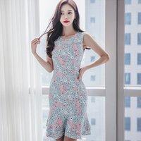 vestido de flores de corea al por mayor-Corea Nueva Elegante Flor Floral Print Ladies Dress Mujeres Verano Sexy O-cuello Tankcon Bodycon Delgado Vestido de Sirena Vestido