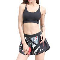 meninas camuflagem shorts venda por atacado-SEBOWEL Cintura Alta Impressão Solta Calções de Yoga Mulheres Camuflagem Bonito Ginásio de Treinamento de Fitness Esporte Shorts Menina Treino de Corrida # 280365
