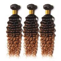 insan saçı brazilian örgü kahverengi toptan satış-Brezilyalı Ombre Derin Kıvırcık Saç Paketler 3 Ton 1B / 4/30 Kahverengi Ombre Brezilyalı Kıvırcık Bakire İnsan saç örgüleri