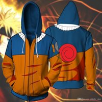 Wholesale naruto coat jacket online - Asian Size Japan Anime Naruto Hokage Halloween D Unisex Cosplay Costume Casual Zipper Coat Jacket Hoodie