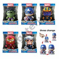ferro homem face brinquedo venda por atacado-Marvel Poderosa Muggs Legal cabeça Mudar Figuras de Ação Rosto Toy Capitão América Homem De Ferro Hulk Spiderman Modelo Bonecas de Brinquedo