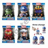 visage de l'homme de fer jouet achat en gros de-Marvel Puissant Muggs Tête froide Changer Visage Figurines Action Captain America Iron Man Hulk Modèle Spiderman Poupées