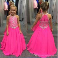 elmas taklidi elbisesi gelinlik toptan satış-Halter Sheer Boyun Kızlar Pageant elbise Ile Boncuklu Rhinestones Sashes A-Line Balo Çocuk Doğum Günü Partisi Gençler Düğün Genç Elbise Giymek