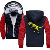 toison de dinosaure achat en gros de-vêtements pour hommes 2019 Dinosaur Hommes Hoodies hip hop streetwear Hommes Épaissir Polaire Zipper Tops Plus la taille