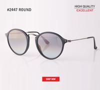 Wholesale reflective ladies sunglasses resale online - hot sale quality Mirror Round Ladies Sunglasses reflective Lens brand Designer gradient Lunette UV400 Protective Sun Glasses rd2447 For man