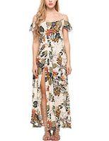 Wholesale romper dresses resale online - Zeagoo Women s Floral Print Off The Shoulder Summer Split Maxi Romper Dress