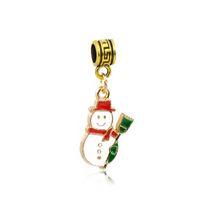 Wholesale Funny Gift Gold Enamel Pendants Fit Pandora Charms Bracelets Christmas Snowman Alloy Thread Hole Bead DIY Necklace Jewelry Accessories DZ59