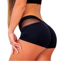 Wholesale gym yoga pant resale online - Summer Ladies Mid Waist Mesh Stitching Sports Shorts Women Fashionable Gym Workout Waistband Skinny Yoga Mini Short Leggings