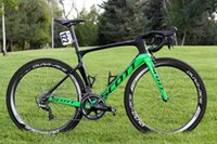 manillar verde carretera al por mayor-Verde Bicicleta Nuevo color Carbono Bicicleta de carretera completa R9100 R8000 R7000 elige sillín c50 Wheelset manillar