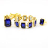 colar de strass de pérola de imitação branca venda por atacado-Design de moda Pulseiras Brincos Pingente Colares de Luxo Mens Grande Vermelho Azul Preto Gems Conjuntos de Jóias de Ouro Moda Amante Presente