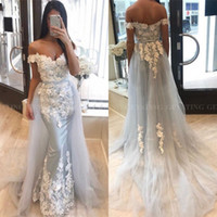 Wholesale beautiful prom dresses pictures for sale - Group buy 2019 Beautiful Arabic Mermaid Dubai Evening Dresses with Detachable Skirt D Floral Appliques Formal Party Gowns Long Prom Dress
