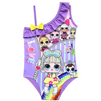 Wholesale hot baby suit resale online - Cartoon Surprise girl Swimsuit Baby Girls Swimwear Summer Ruffle Bow Swimming Suit Kids Designer One Piece Swimsuit Beach Clothes A21904 Hot