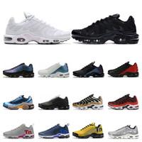 sapatos de corrida para homens tn venda por atacado-nike air max vapormax tn plus   tênis para homens Branco preto Laranja Volt Color Flip HYPER CRIMSON tênis esportivos formadores tamanho 40-46