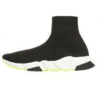 calcetines de arranque para las mujeres al por mayor-2019 zapatos de diseño Speed Trainer Negro Rojo Gypsophila Triple Black plana de la manera calcetín Botas Hombres Mujeres Zapatos Casual corredor con la bolsa para polvo
