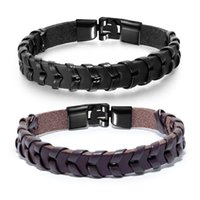 punk bracelets for boys 2021 - PU leather bracelets for men stainless steel knit punk hand chain mens jewelry for boys gifts