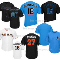 8660e5069 Wholesale baseball shirts black white online - Miami Baseball Jerseys  Marlins Jose Fernandez Stanton Hot Sale