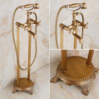 Wholesale swivel hose resale online - Antique Brass Floor Mounted Bathtub Shower Faucet Dual Handle standing Bathroom Faucet Brass Swivel Spout cm Shower Hose