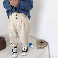 große jeans großhandel-INS Neueste Herbst Kinder Jungen Jeans Hosen Tatting Baumwolle Lässige Mode Große Taschen Blank PP Hosen Vintage Elastische Taille Kinder Hosen