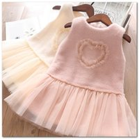 Wholesale tulle kids resale online - Girls dresses kids stereo lace love heart vest princess dress children plush splicing lace tulle dress fall winter new girl party dressJ0636